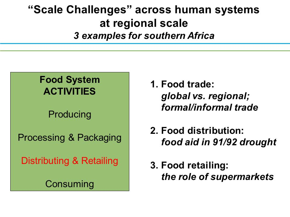 Scale Challenges across human systems at regional scale 3 examples for southern Africa 1.Food trade: global vs.