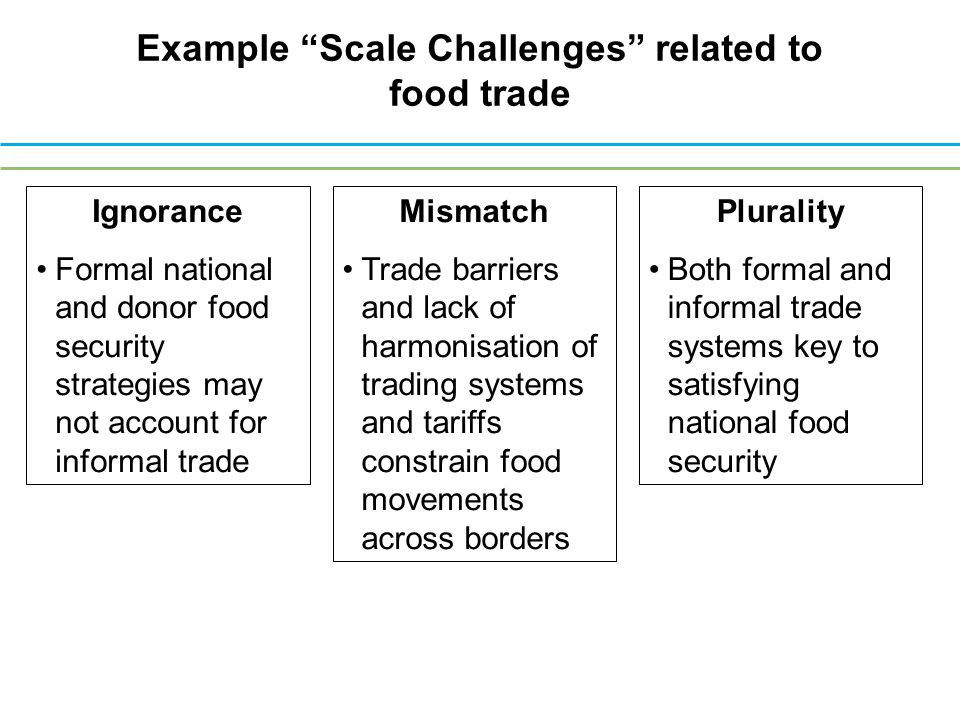 Ignorance Formal national and donor food security strategies may not account for informal trade Mismatch Trade barriers and lack of harmonisation of trading systems and tariffs constrain food movements across borders Plurality Both formal and informal trade systems key to satisfying national food security Example Scale Challenges related to food trade