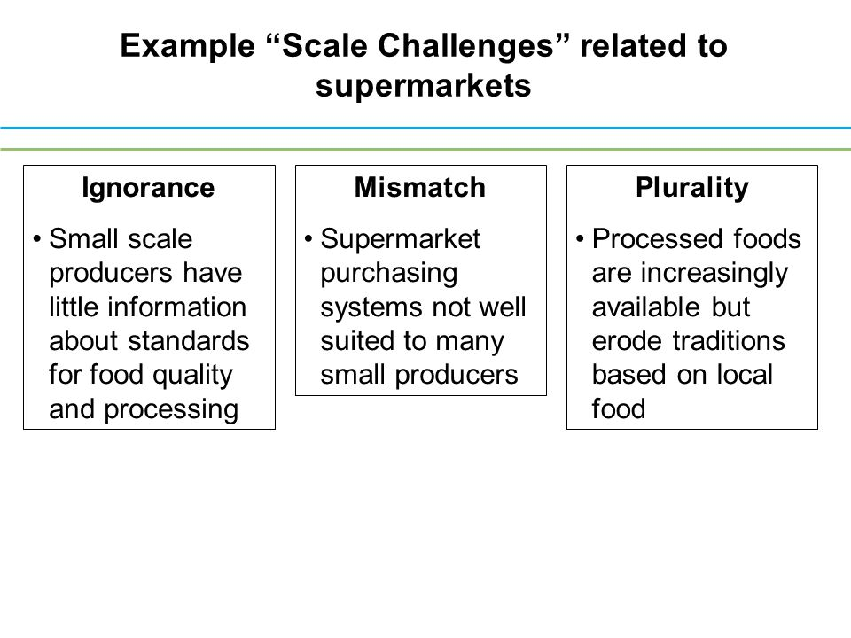 Example Scale Challenges related to supermarkets Ignorance Small scale producers have little information about standards for food quality and processing Mismatch Supermarket purchasing systems not well suited to many small producers Plurality Processed foods are increasingly available but erode traditions based on local food
