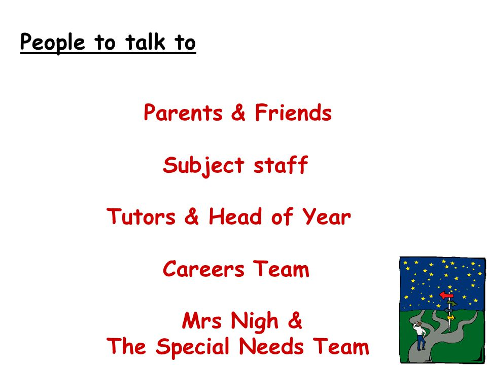 People to talk to Parents & Friends Subject staff Tutors & Head of Year Careers Team Mrs Nigh & The Special Needs Team