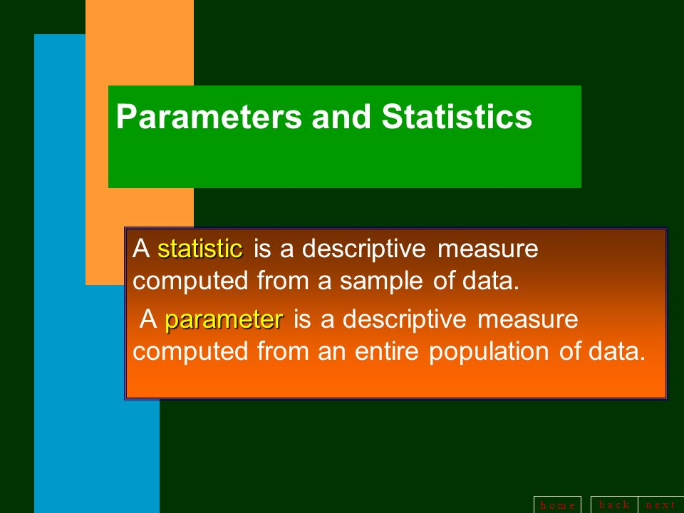 b a c kn e x t h o m e Parameters and Statistics statistic A statistic is a descriptive measure computed from a sample of data.
