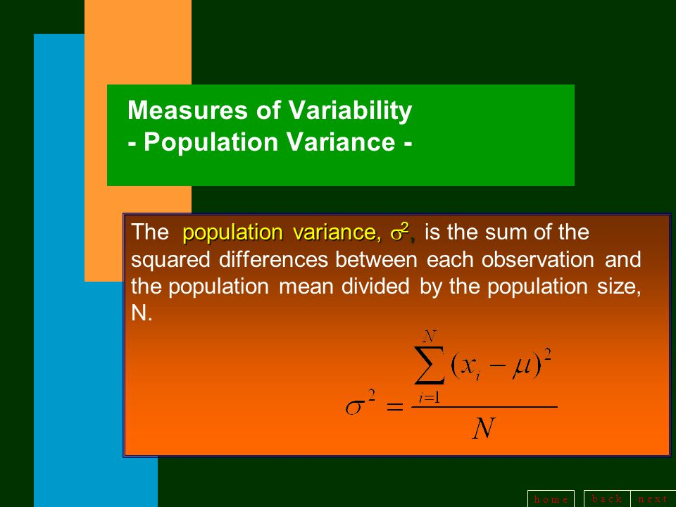 b a c kn e x t h o m e Measures of Variability - Population Variance - population variance,  2, The population variance,  2, is the sum of the squared differences between each observation and the population mean divided by the population size, N.