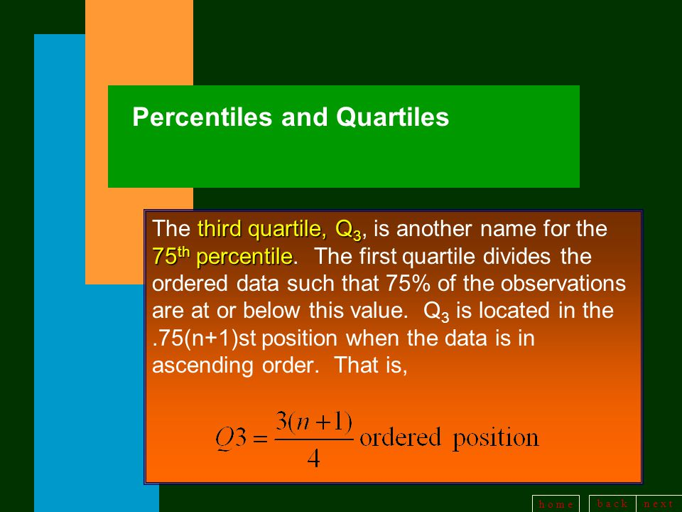 b a c kn e x t h o m e Percentiles and Quartiles third quartile, Q 3 75 th percentile The third quartile, Q 3, is another name for the 75 th percentile.
