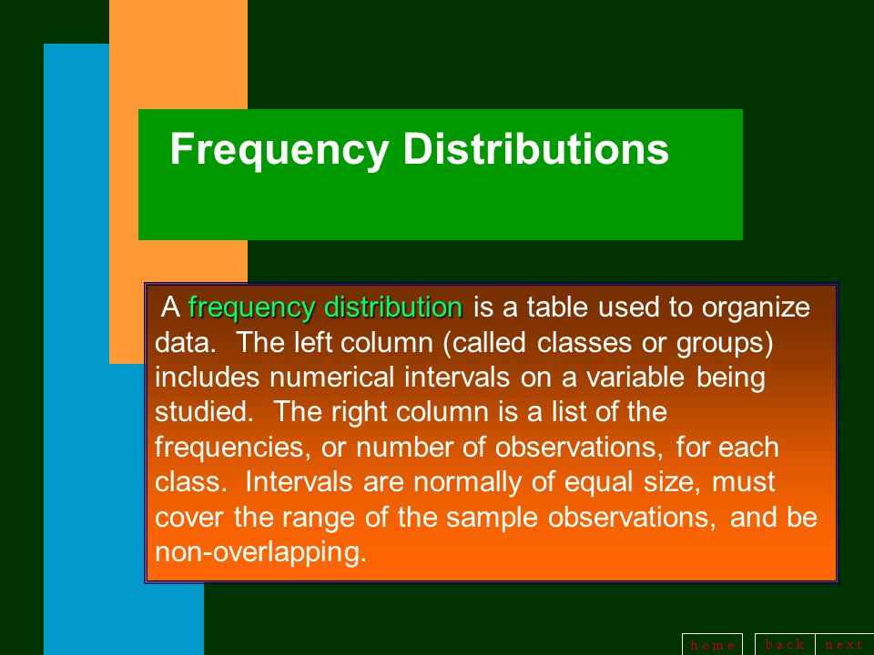 b a c kn e x t h o m e Frequency Distributions frequency distribution A frequency distribution is a table used to organize data.