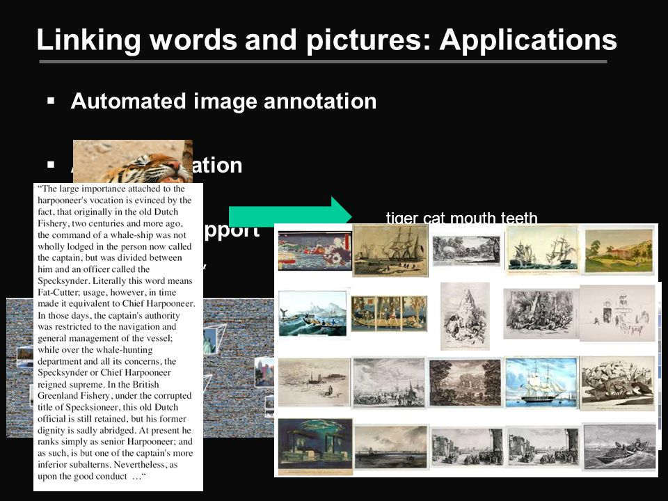 Linking words and pictures: Applications  Automated image annotation  Auto illustration  Browsing support tiger cat mouth teeth statue of liberty