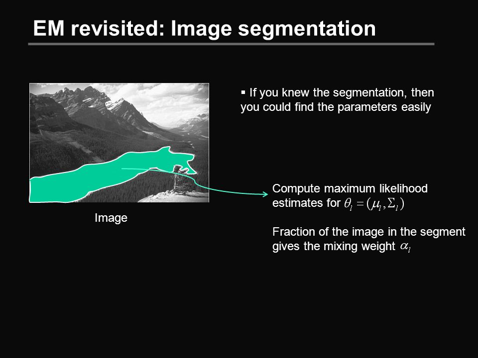 EM revisited: Image segmentation Image  If you knew the segmentation, then you could find the parameters easily Compute maximum likelihood estimates for Fraction of the image in the segment gives the mixing weight