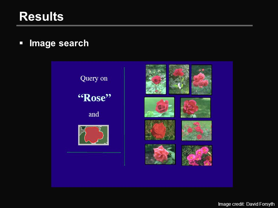 Results  Image search Image credit: David Forsyth