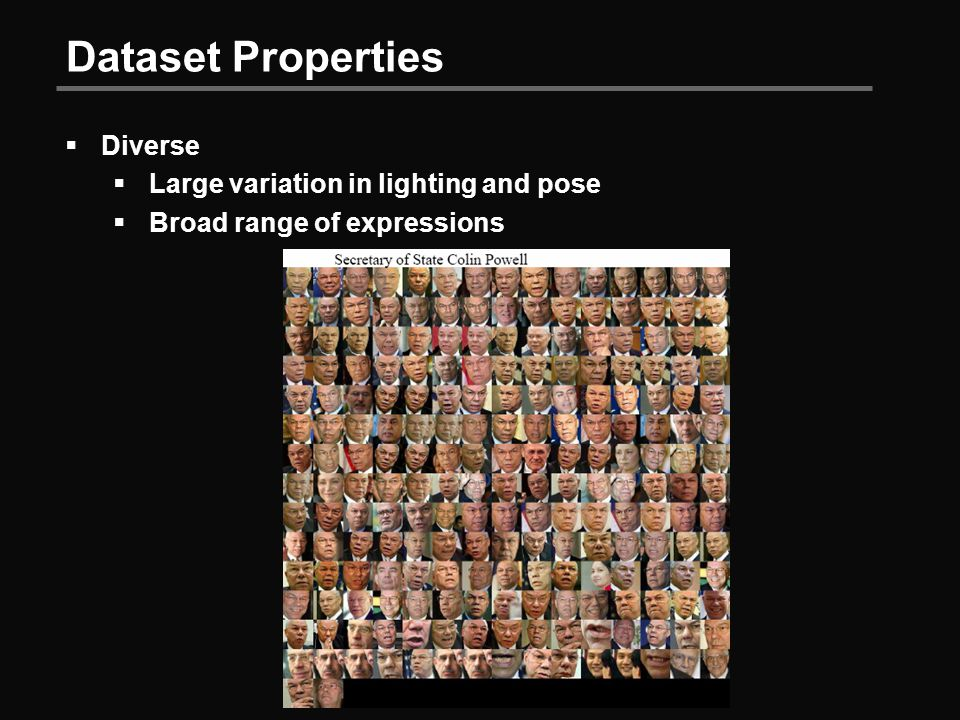 Dataset Properties  Diverse  Large variation in lighting and pose  Broad range of expressions