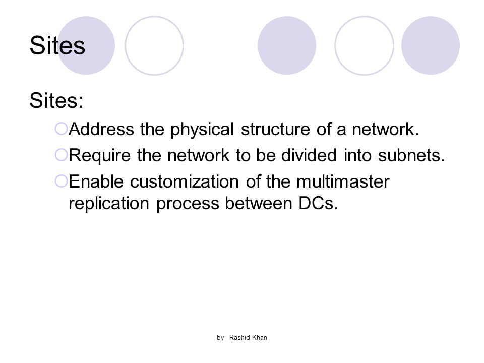 by Rashid Khan Sites Sites:  Address the physical structure of a network.