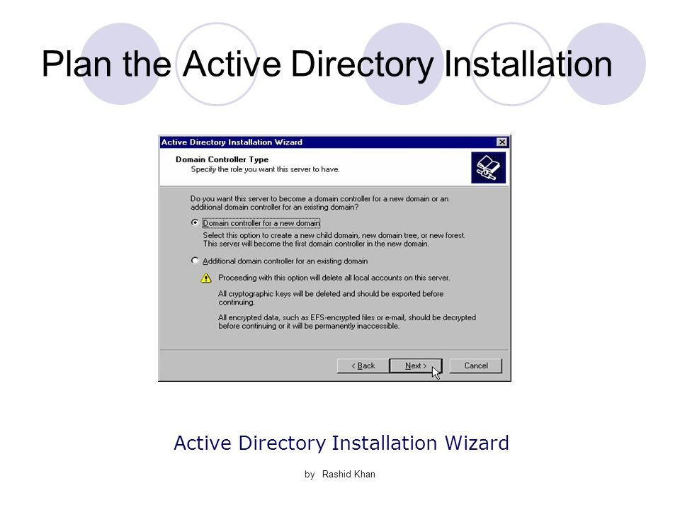 by Rashid Khan Plan the Active Directory Installation Active Directory Installation Wizard