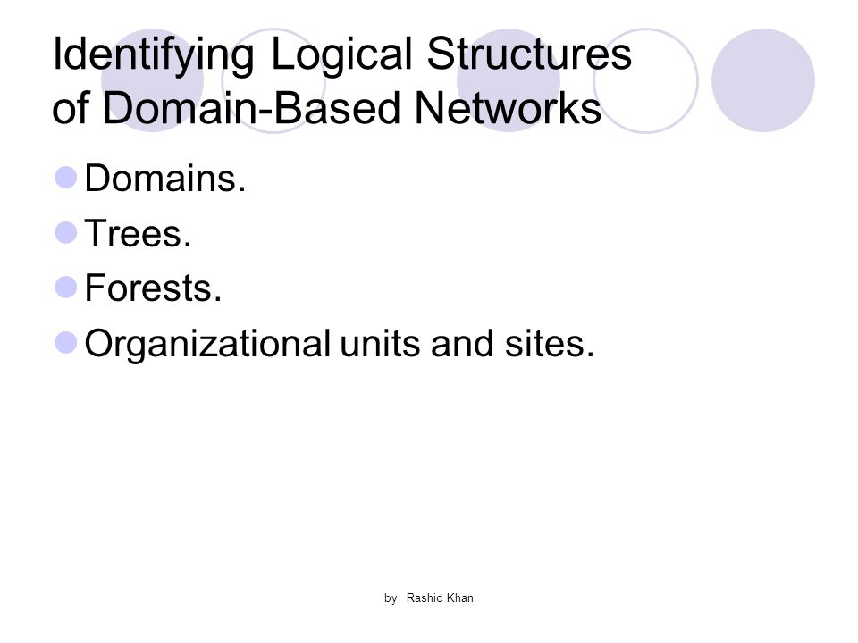 by Rashid Khan Identifying Logical Structures of Domain-Based Networks Domains.
