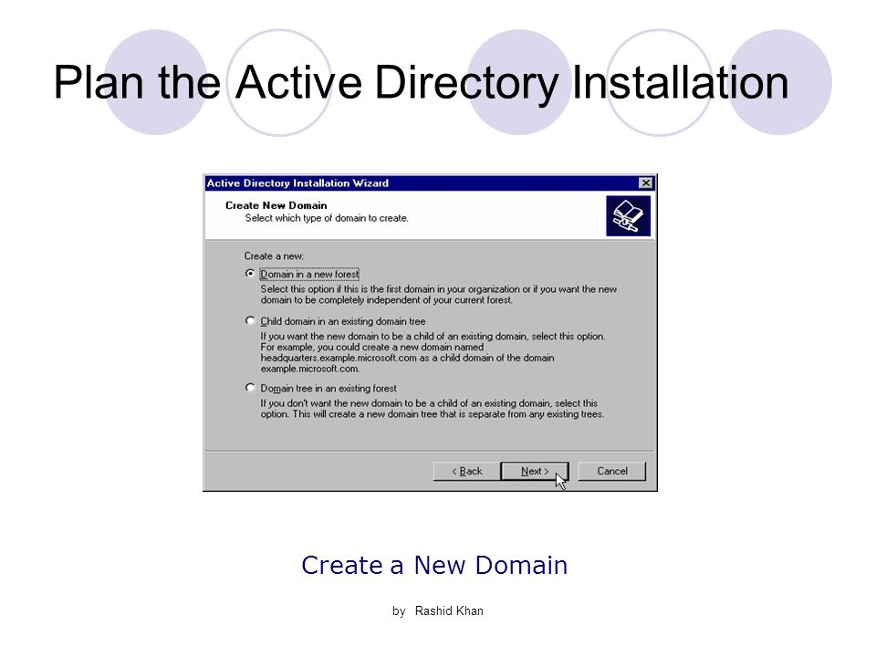 by Rashid Khan Plan the Active Directory Installation Create a New Domain