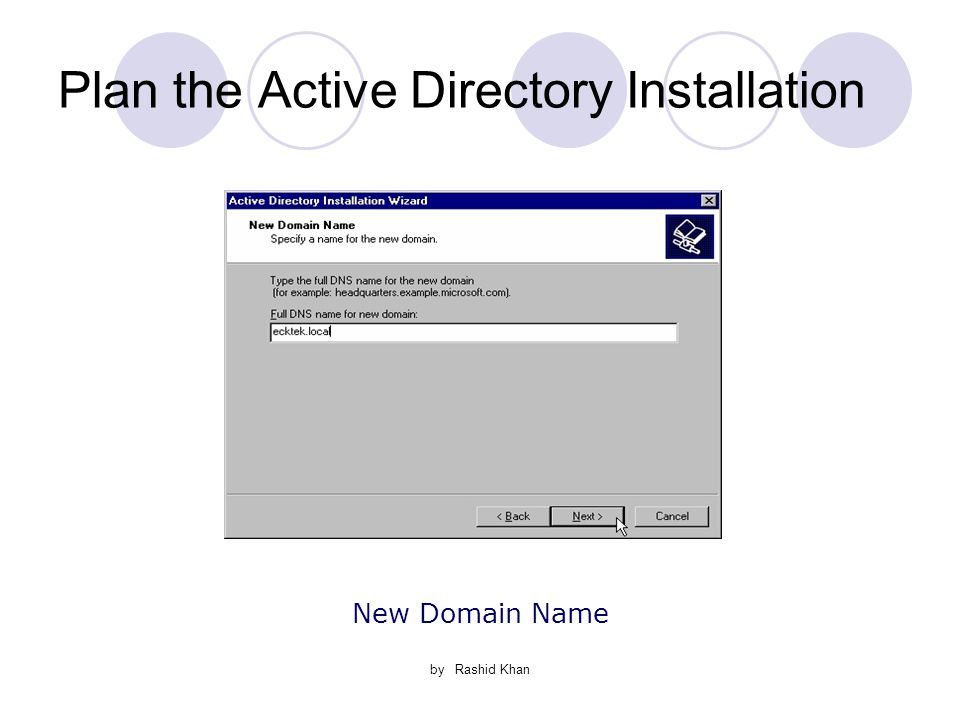 by Rashid Khan Plan the Active Directory Installation New Domain Name