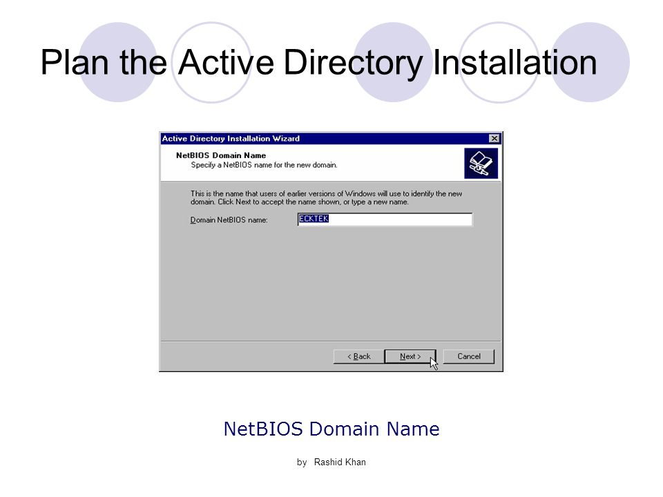 by Rashid Khan Plan the Active Directory Installation NetBIOS Domain Name