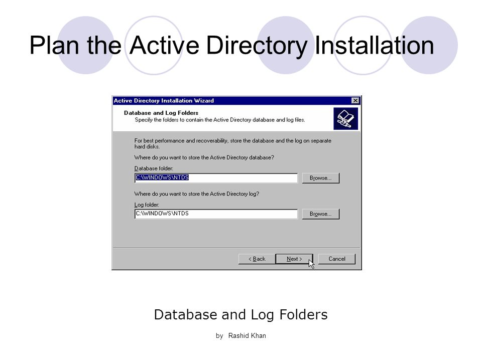 by Rashid Khan Plan the Active Directory Installation Database and Log Folders