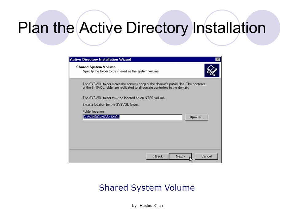 by Rashid Khan Plan the Active Directory Installation Shared System Volume