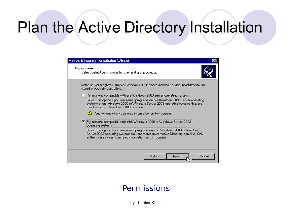 by Rashid Khan Plan the Active Directory Installation Permissions
