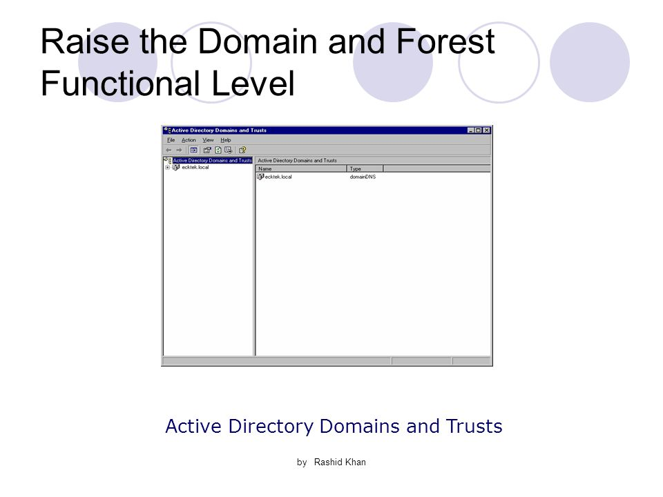by Rashid Khan Raise the Domain and Forest Functional Level Active Directory Domains and Trusts
