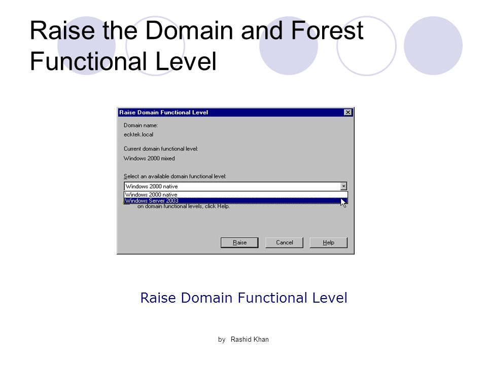 by Rashid Khan Raise the Domain and Forest Functional Level Raise Domain Functional Level
