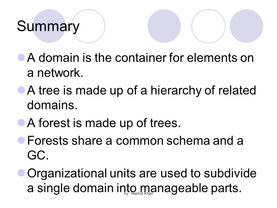 by Rashid Khan Summary A domain is the container for elements on a network.