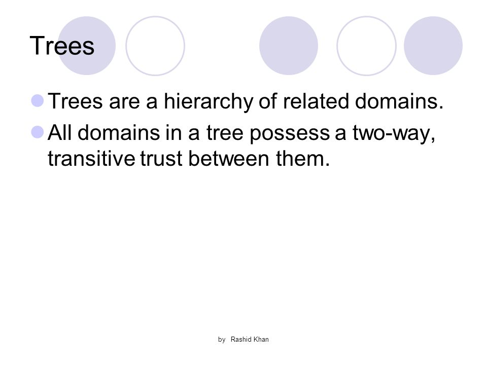 by Rashid Khan Trees Trees are a hierarchy of related domains.