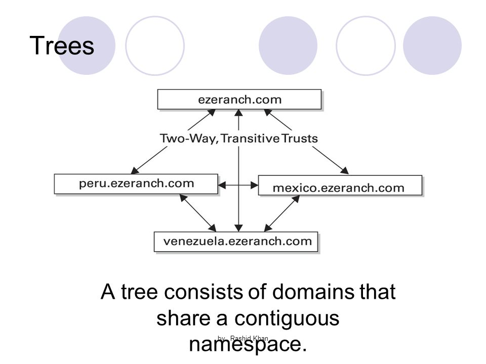 by Rashid Khan Trees A tree consists of domains that share a contiguous namespace.