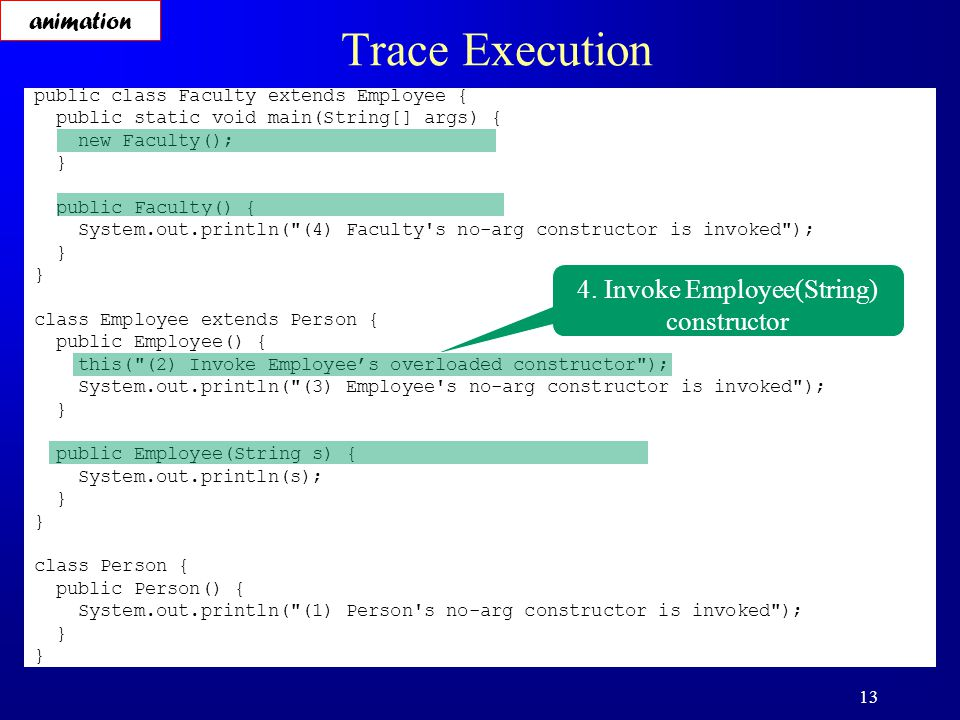 13 Trace Execution public class Faculty extends Employee { public static void main(String[] args) { new Faculty(); } public Faculty() { System.out.println( (4) Faculty s no-arg constructor is invoked ); } class Employee extends Person { public Employee() { this( (2) Invoke Employee's overloaded constructor ); System.out.println( (3) Employee s no-arg constructor is invoked ); } public Employee(String s) { System.out.println(s); } class Person { public Person() { System.out.println( (1) Person s no-arg constructor is invoked ); } 4.