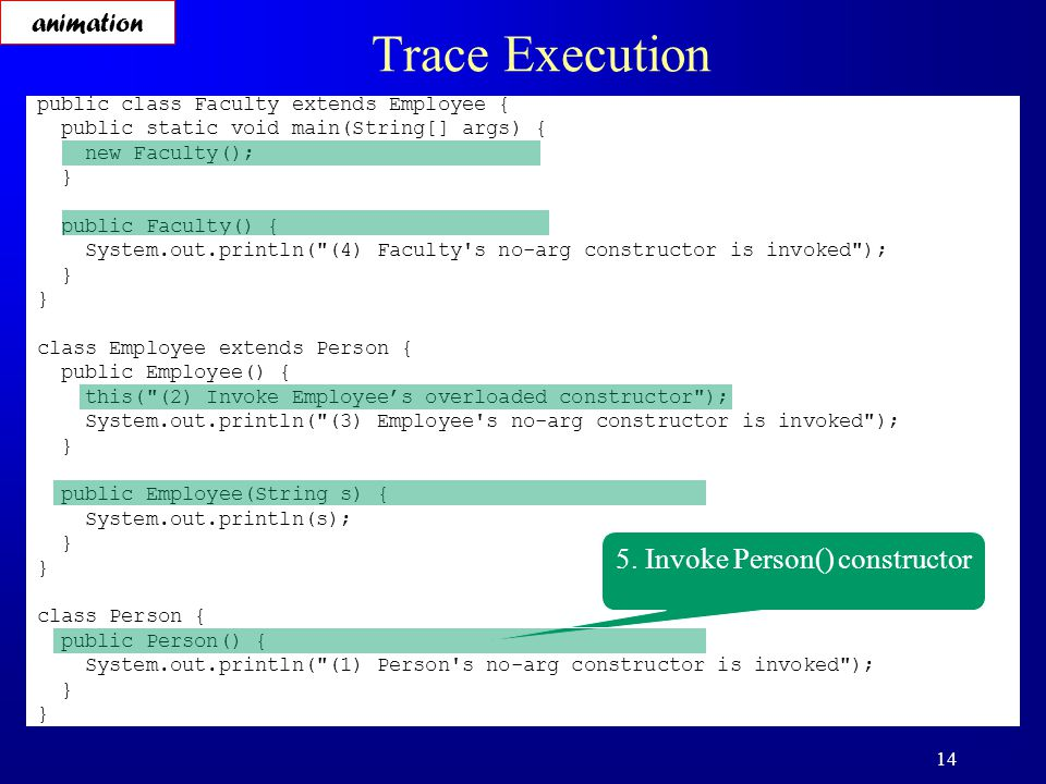 14 Trace Execution public class Faculty extends Employee { public static void main(String[] args) { new Faculty(); } public Faculty() { System.out.println( (4) Faculty s no-arg constructor is invoked ); } class Employee extends Person { public Employee() { this( (2) Invoke Employee's overloaded constructor ); System.out.println( (3) Employee s no-arg constructor is invoked ); } public Employee(String s) { System.out.println(s); } class Person { public Person() { System.out.println( (1) Person s no-arg constructor is invoked ); } 5.
