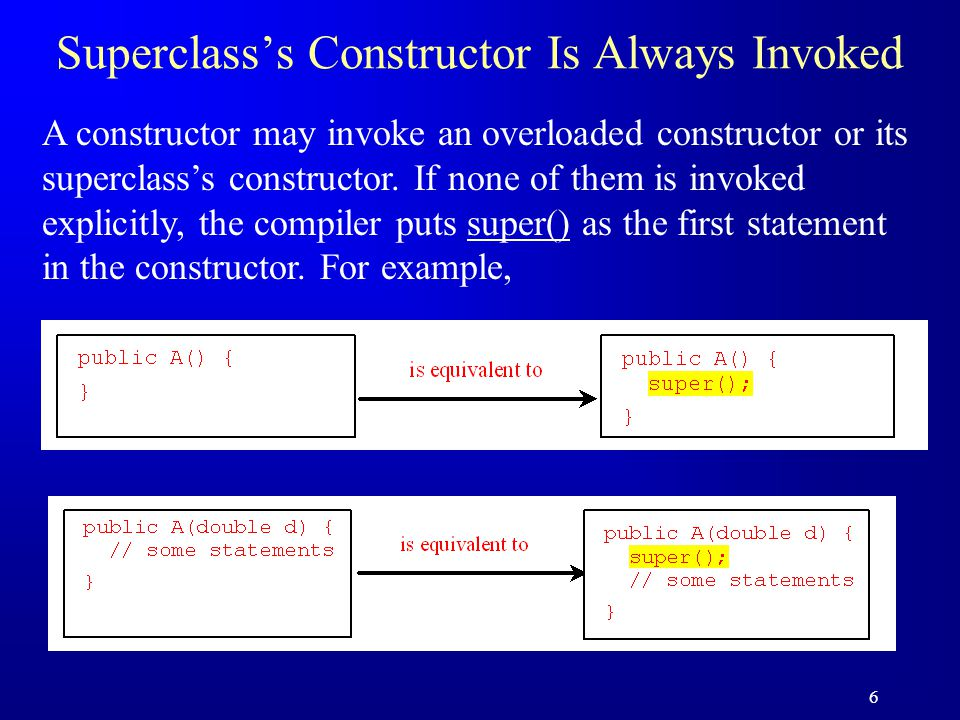 6 Superclass's Constructor Is Always Invoked A constructor may invoke an overloaded constructor or its superclass's constructor.