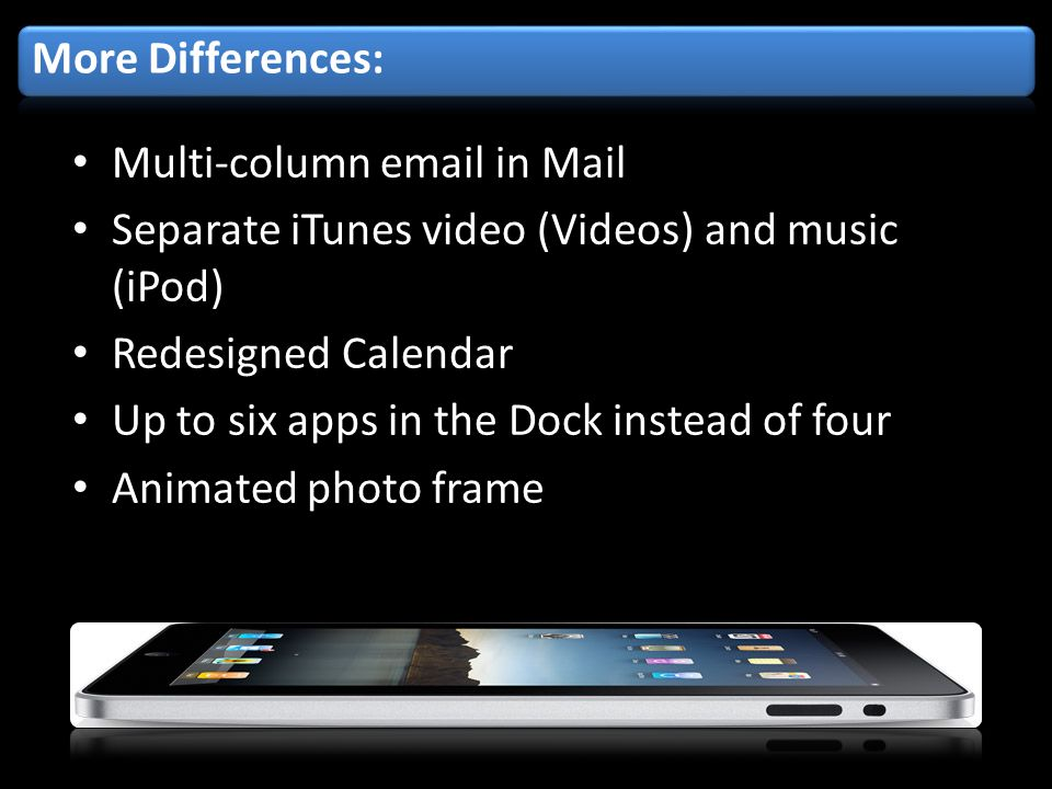 Multi-column  in Mail Separate iTunes video (Videos) and music (iPod) Redesigned Calendar Up to six apps in the Dock instead of four Animated photo frame