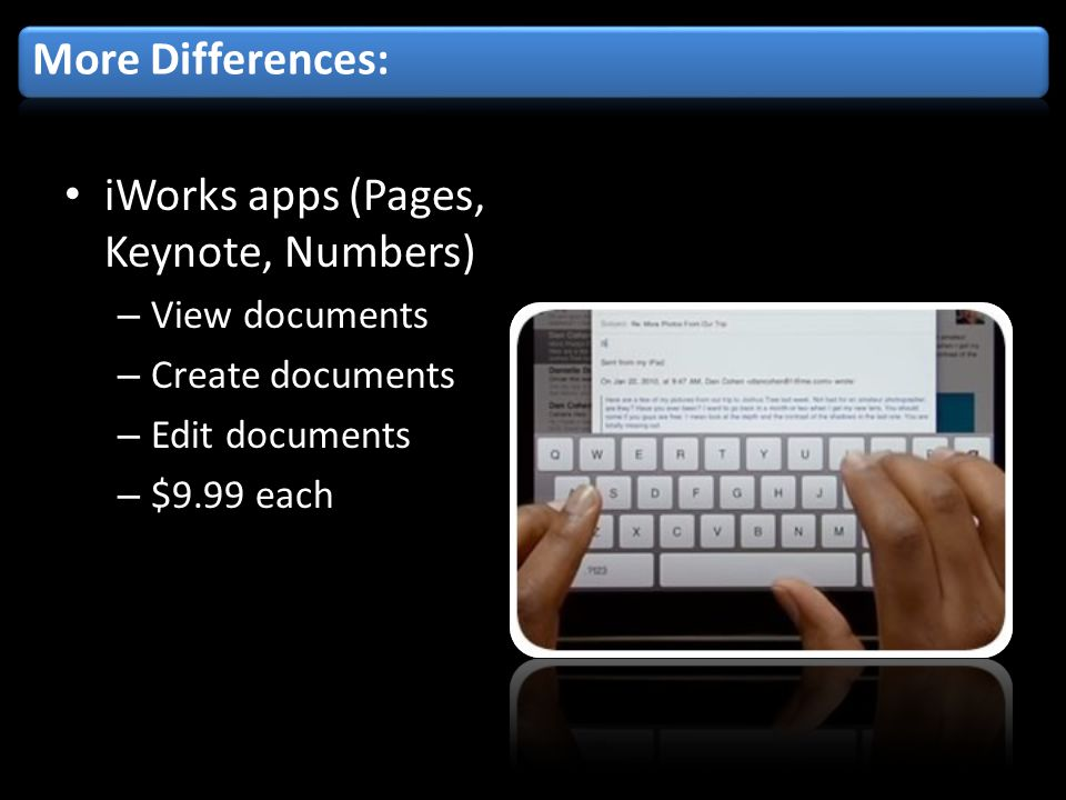 iWorks apps (Pages, Keynote, Numbers) – View documents – Create documents – Edit documents – $9.99 each