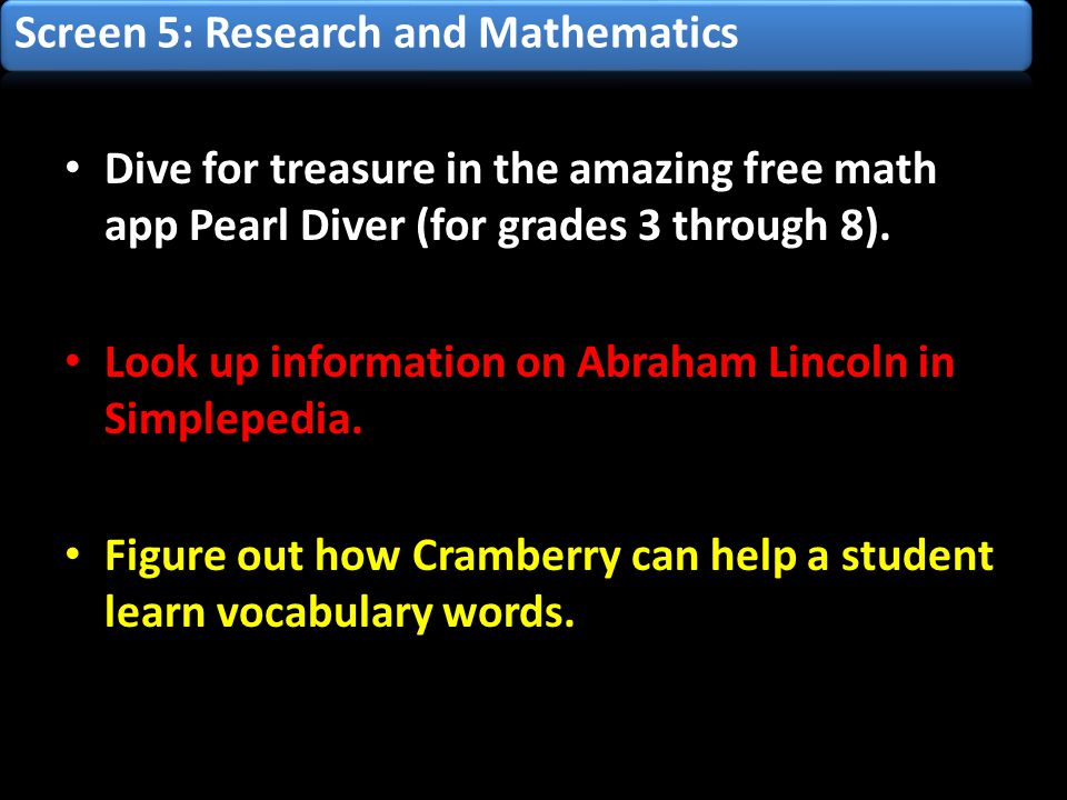 Dive for treasure in the amazing free math app Pearl Diver (for grades 3 through 8).