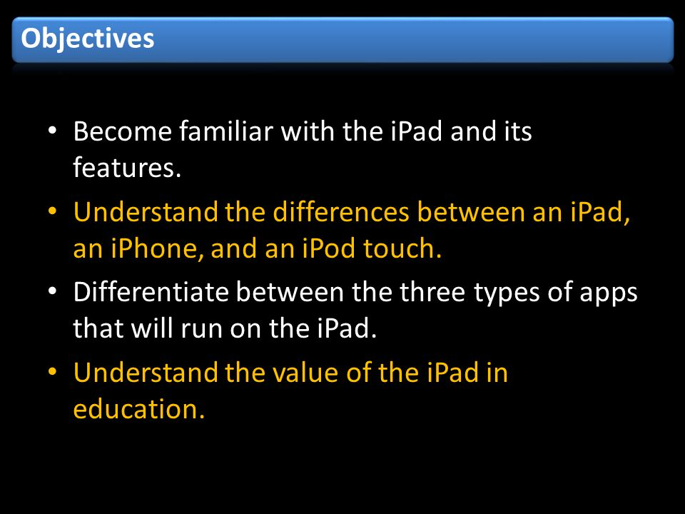 Become familiar with the iPad and its features.