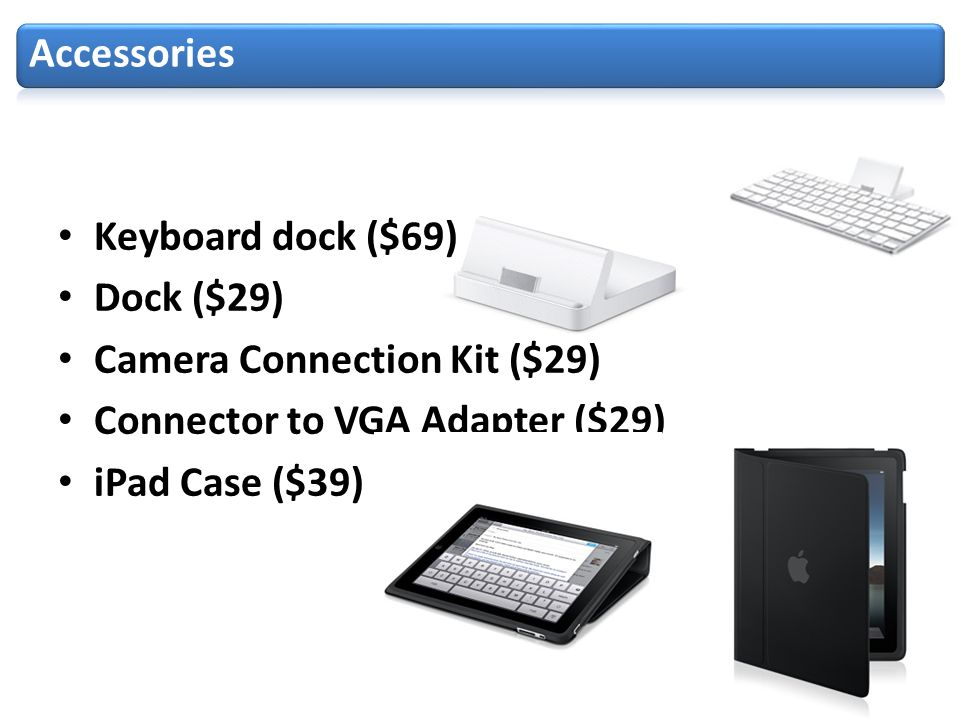 Keyboard dock ($69) Dock ($29) Camera Connection Kit ($29) Connector to VGA Adapter ($29) iPad Case ($39)