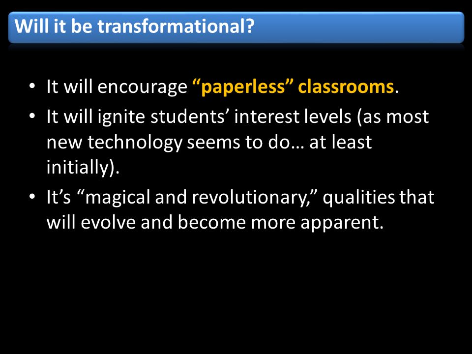 It will encourage paperless classrooms.