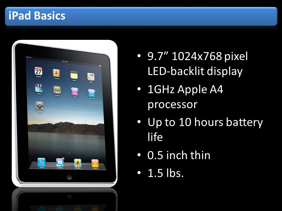 x768 pixel LED-backlit display 1GHz Apple A4 processor Up to 10 hours battery life 0.5 inch thin 1.5 lbs.