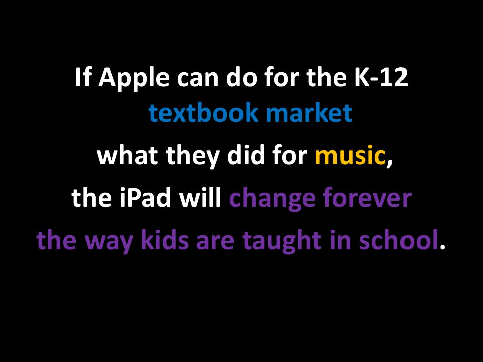 If Apple can do for the K-12 textbook market what they did for music, the iPad will change forever the way kids are taught in school.