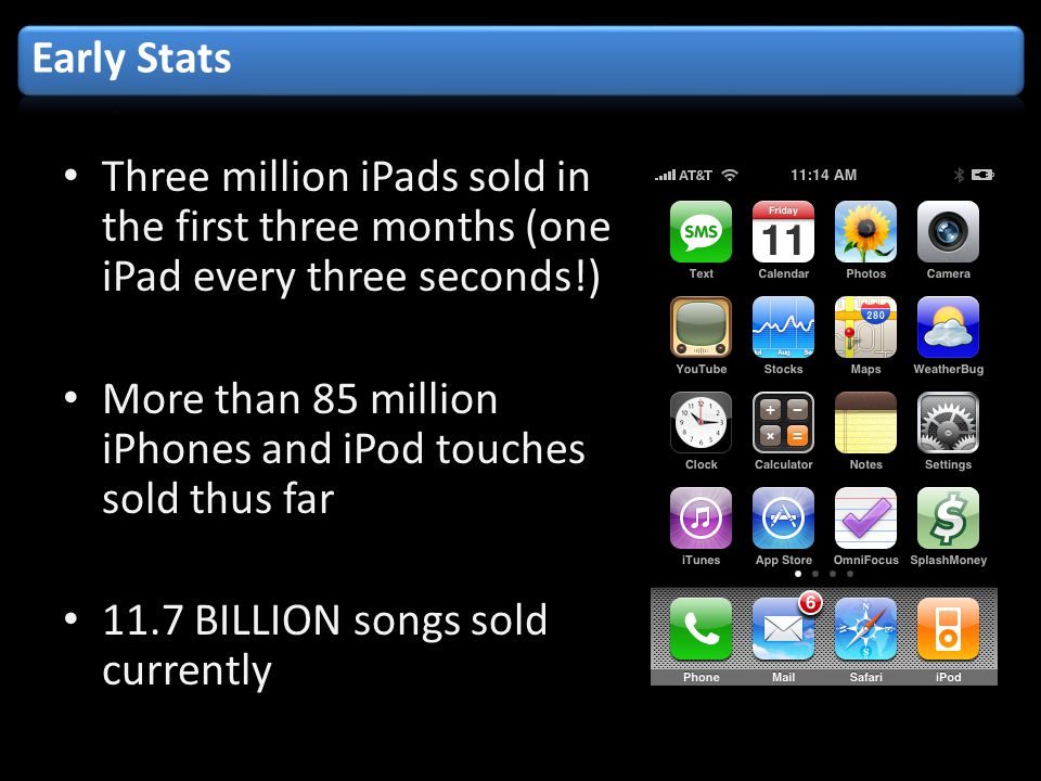Three million iPads sold in the first three months (one iPad every three seconds!) More than 85 million iPhones and iPod touches sold thus far 11.7 BILLION songs sold currently