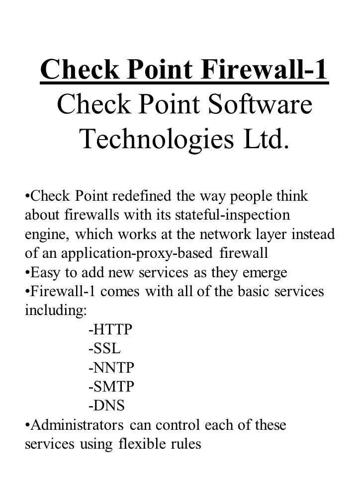 Check Point Firewall-1 Check Point Software Technologies Ltd.