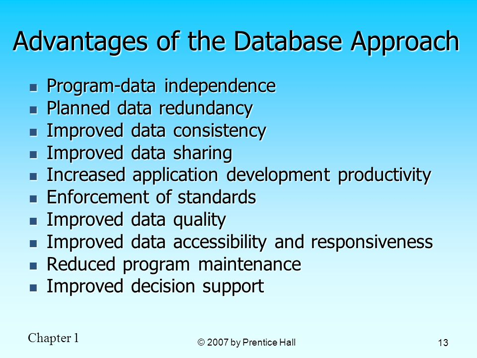 Chapter 1 © 2007 by Prentice Hall 13 Advantages of the Database Approach Program-data independence Program-data independence Planned data redundancy Planned data redundancy Improved data consistency Improved data consistency Improved data sharing Improved data sharing Increased application development productivity Increased application development productivity Enforcement of standards Enforcement of standards Improved data quality Improved data quality Improved data accessibility and responsiveness Improved data accessibility and responsiveness Reduced program maintenance Reduced program maintenance Improved decision support Improved decision support