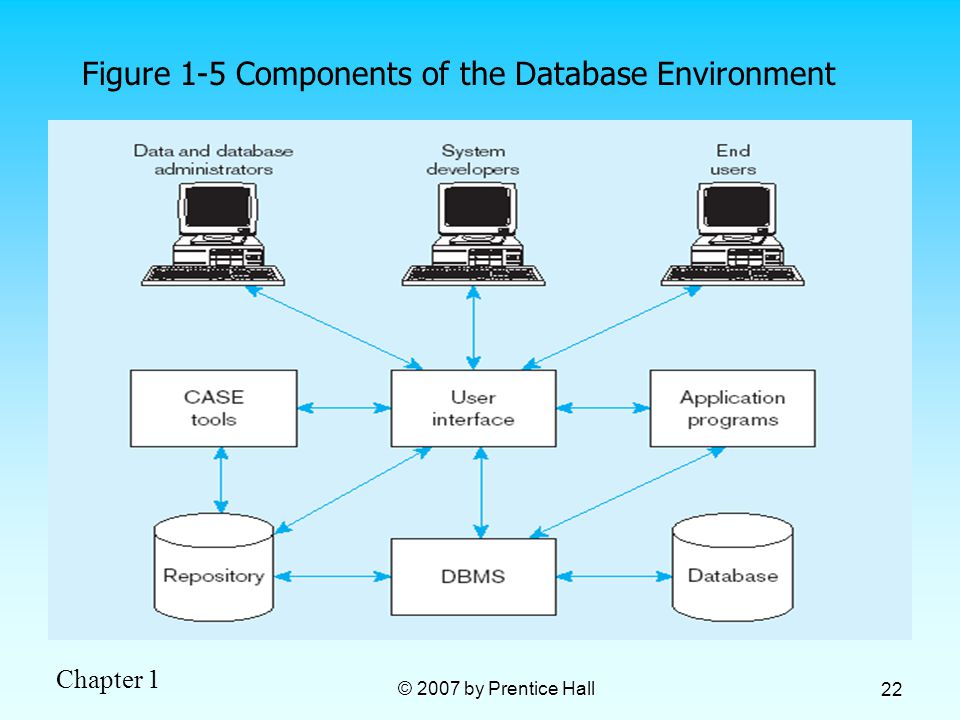 Chapter 1 © 2007 by Prentice Hall 22 Figure 1-5 Components of the Database Environment
