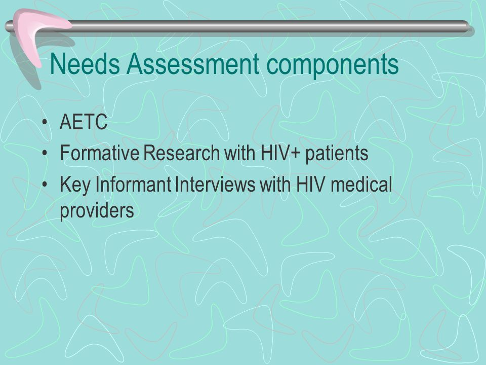Needs Assessment components AETC Formative Research with HIV+ patients Key Informant Interviews with HIV medical providers