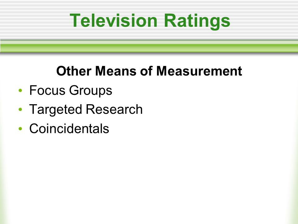 Television Ratings Other Means of Measurement Focus Groups Targeted Research Coincidentals