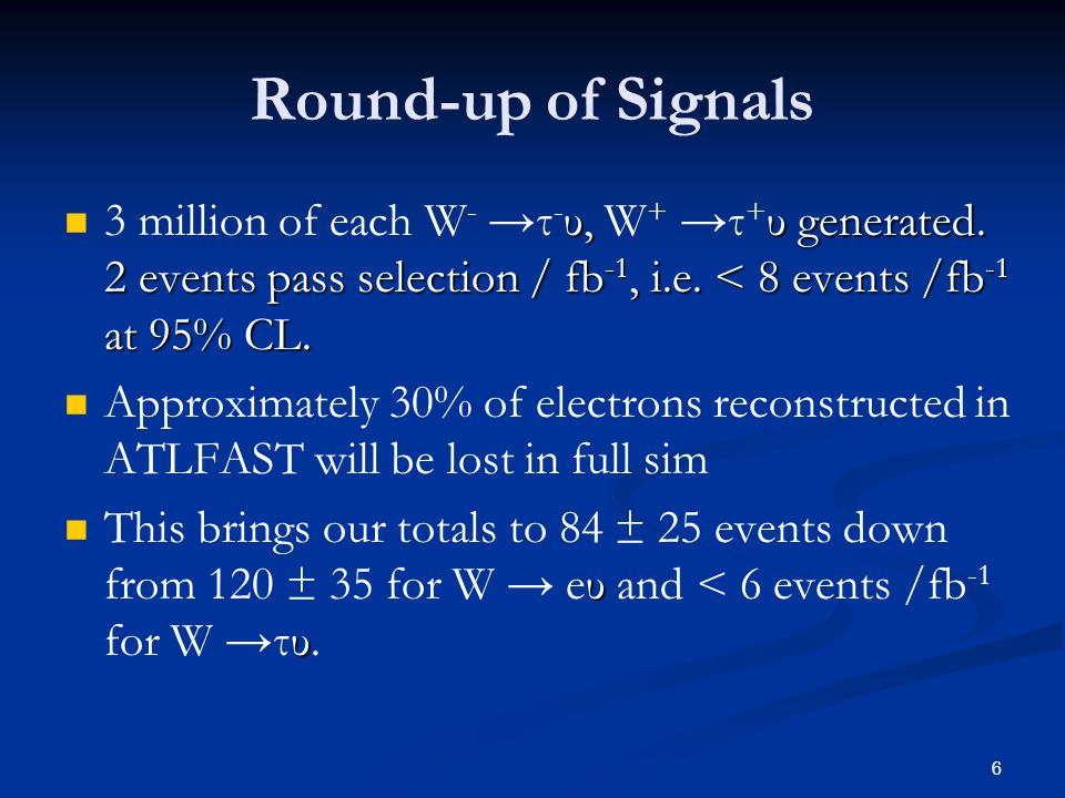 6 Round-up of Signals υ, υ generated. 2 events pass selection / fb -1, i.e.
