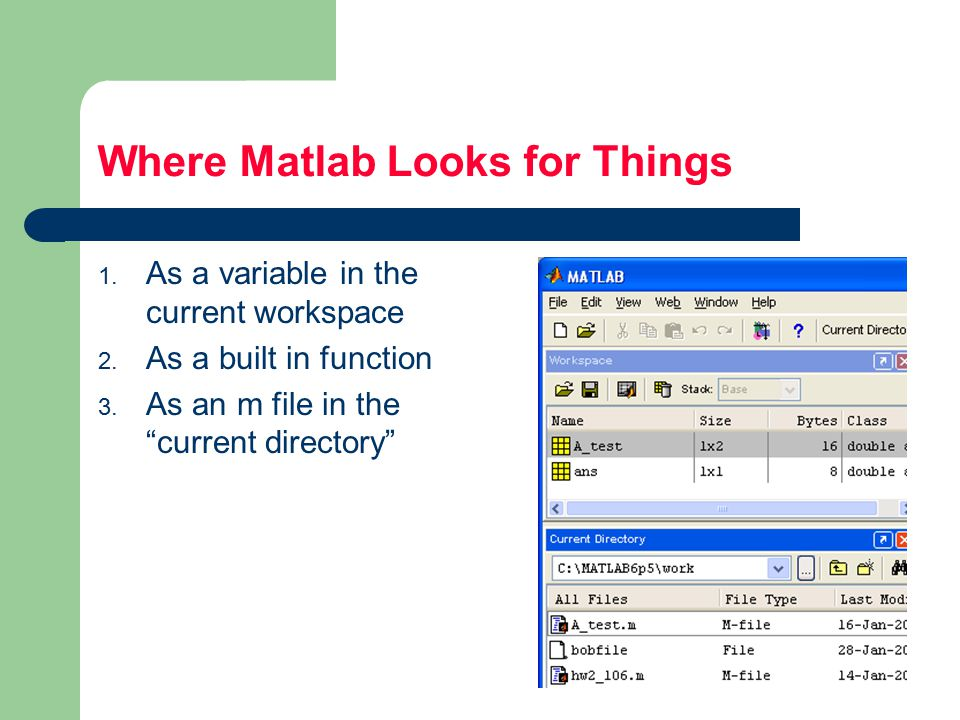 Where Matlab Looks for Things 1. As a variable in the current workspace 2.