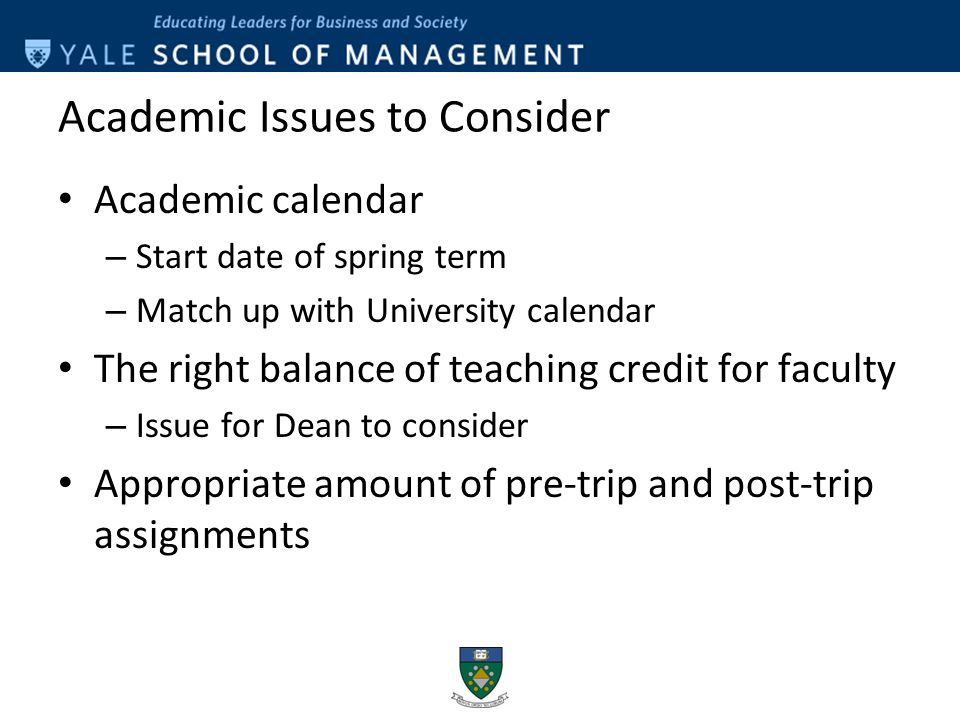 Wcsu Academic Calendar.International Experience Program At The Yale School Of Management