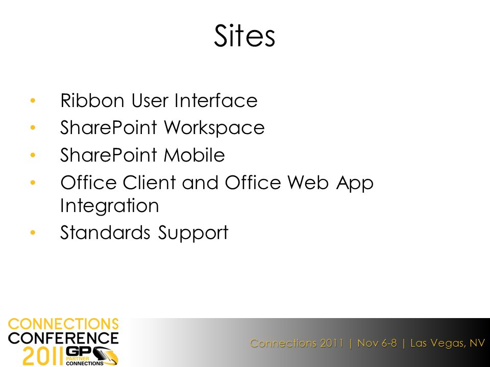 Connections 2011 | Nov 6-8 | Las Vegas, NV Ribbon User Interface SharePoint Workspace SharePoint Mobile Office Client and Office Web App Integration Standards Support Sites