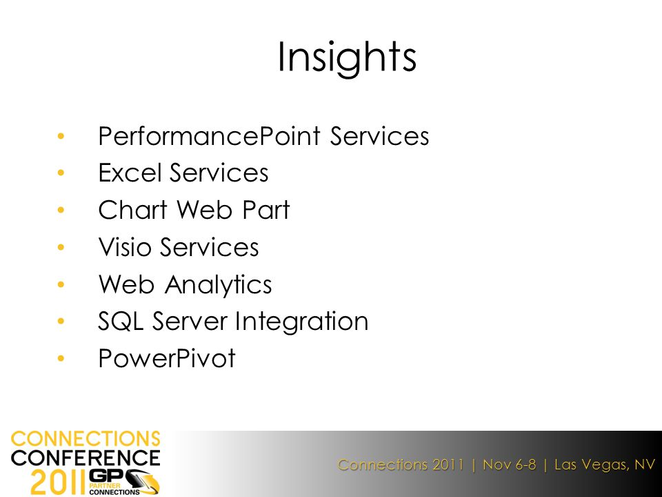 Connections 2011 | Nov 6-8 | Las Vegas, NV PerformancePoint Services Excel Services Chart Web Part Visio Services Web Analytics SQL Server Integration PowerPivot Insights