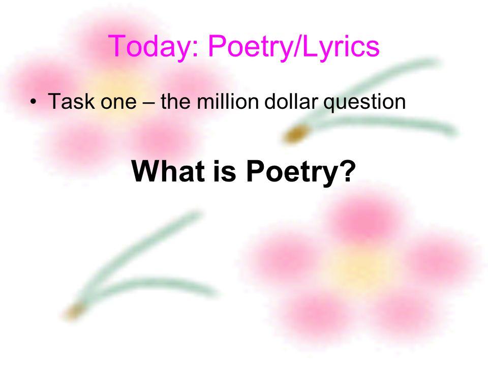 English Creative Writing 2009 Session Three Poetry/Lyrics 18 April ...