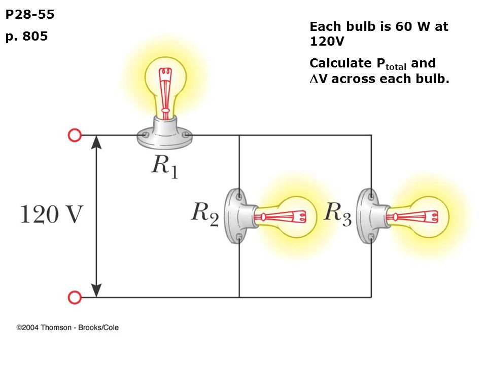 P28-55 p. 805 Each bulb is 60 W at 120V Calculate P total and  V across each bulb.